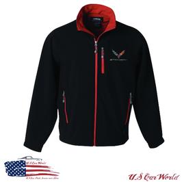 Corvette Softshell Jacke - Corvette C7 Logo - Schwarz/Rot
