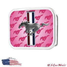Ford Mustang Gürtelschnalle - Buckle - Mustang Tribar - Pink