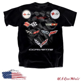 Corvette T-Shirt - Legend lives on - C1 bis C7 Flags - Schwarz