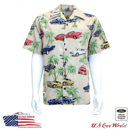 Ford Mustang Hawaii Hemd - Camp Shirt - Mustang Collage - Vintage