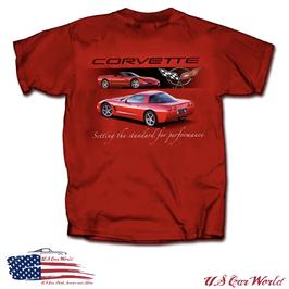 Corvette C5 T-Shirt - Corvette C5 Standard of Performance - Rot