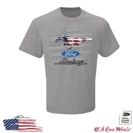 Ford Mustang T-Shirt - Mustang Running Pony USA Logo - Hellgrau