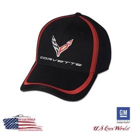 Corvette Basecap - Corvette Logo - Red Stripe / Carbon Look