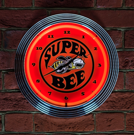 #SBEENCO - Dodge Super Bee Neonuhr - Super Bee Logo - Neon Orange