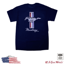 Ford Mustang T-Shirt - Tribar Logo - Since 1964 - Navy
