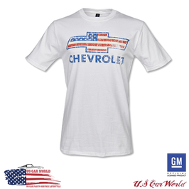 Chevrolet T-Shirt - Chevy Bowtie USA Style - Weiß