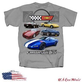 Corvette C4 T-Shirt - Motiv Fantastic C4 - Hellgrau
