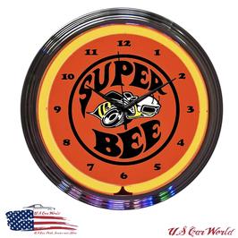 Dodge Super Bee Neonuhr - Super Bee Logo - Neon Orange