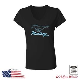 Ford Mustang Damen T-Shirt - Mustang Pony Running Horse - Schwarz/Türkis