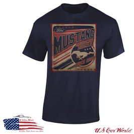 Ford Mustang T-Shirt - American Muscle - Vintage Style - Dunkelblau