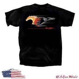 Ford Mustang T-Shirt - Mustang Burning Pony Emblem - Schwarz