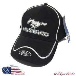 Ford Mustang Basecap - Mustang Running Horse & Ford Blue Oval Logo - Schwarz