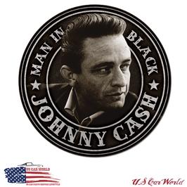 """Blechschild """"Johnny Cash - Man in Black Round"""""""