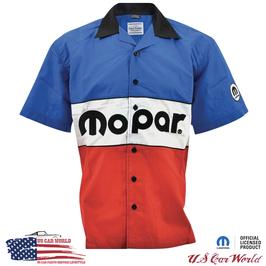 Mopar Pit Crew Shirt - Mopar Classic Logo - Bestickt - Rot/Blau/Weiß