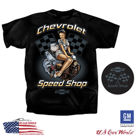 Chevrolet T-Shirt -Chevy Speed Shop - Pin Up Style - Schwarz