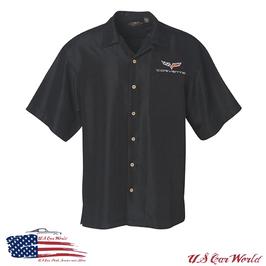 Corvette C6 Hemd - Pit Crew Shirt - Corvette C6 Logo Flag - Schwarz