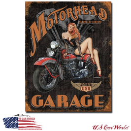 """Blechschild """"Legends - Motorrad Garage"""""""