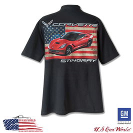 Corvette C7 T-Shirt - Corvette Stingray USA Motiv - Schwarz