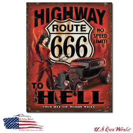 "Blechschild ""Route 666 - Highway to Hell"""