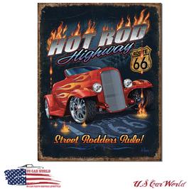 "Blechschild ""Hot Rod Highway - Street Rodders Rule"""