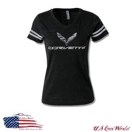 Corvette C7 Ladies T-Shirt - Corvette C7 Logo T-Shirt im Football Style