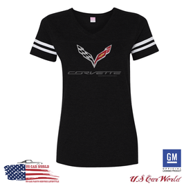 Corvette C7 Ladies T-Shirt - Corvette C7 Logo T-Shirt - Stripes - Dunkelgrau