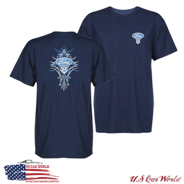 Ford T-Shirt - Ford V8 Logo - Ford Blue Oval Logo mit Pinstripes - Dunkelblau