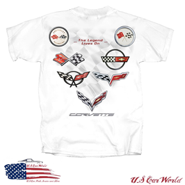 Corvette T-Shirt - Legend lives on - C1 bis C7 Flags - Weiß