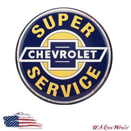 Chevrolet Vintage Blechschild - Super Chevy Service - Button Sign