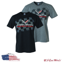 Corvette T-Shirt - Corvette C7 Racing - Checkerboard - Anthrazit