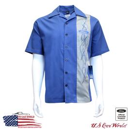 Ford Mechanikerhemd - Ford Freizeithemd - Ford Logo - Pinstripe - Blau
