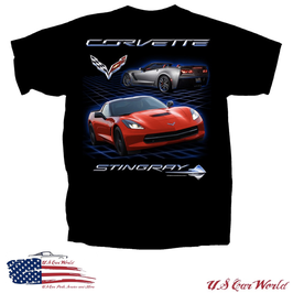 Corvette C7 T-Shirt - Corvette Stingray Motiv - Schwarz