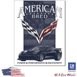 """Corvette Blechschild """"Corvette C7 - American Bred"""""""