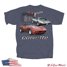 Corvette C3 T-Shirt - Corvette C3 Motiv Garage - Indigo Heather