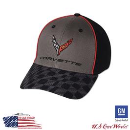 Corvette Basecap - Corvette Logo Flag - Carbon Flash Checkered Bill Cap