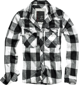 Brandit Check Shirt - Flanellhemd - Black-White (46)