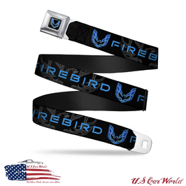 Pontiac Firebird Gürtel Sicherheitsgurt mit Firebird Print - Schwarz/Blau