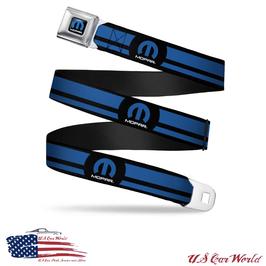 Mopar Sicherheitsgurt Gürtel mit Mopar Blue & Black Stripes Print