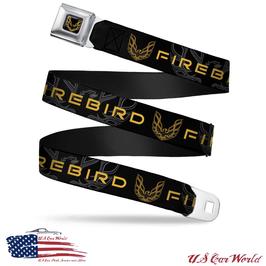 Pontiac Firebird Gürtel Sicherheitsgurt mit Firebird Print - Schwarz/Gelb