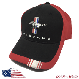 Ford Mustang Tribar Basecap - Mustang Tribar Logo - Schwarz/Rot
