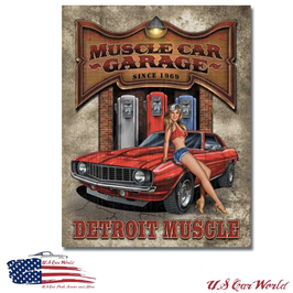 "Blechschild ""Legends - Muscle Car Garage"""