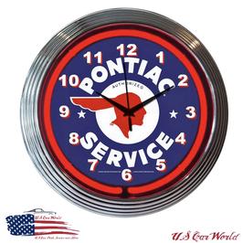 Pontiac Logo Neonuhr - Pontiac Service Logo - Neon Rot