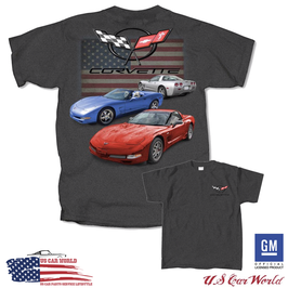 Corvette C5 T-Shirt - Corvette C5 Logo - Red White and Blue - US Style - Dunkelgrau