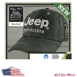 Jeep Basecap - Jeep Logo: 4x4 Freedom & Side Patch - Oliv Camo