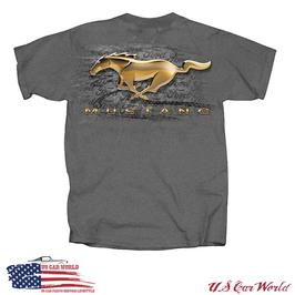 Ford Mustang T-Shirt - Mustang Running Horse - Gold Pony - Grau