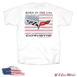 Corvette T-Shirt - Corvette Born In The USA - Weiß