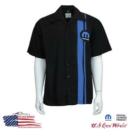 Mopar Pit Crew Shirt - Mopar Blue Logo - Bestickt - Schwarz