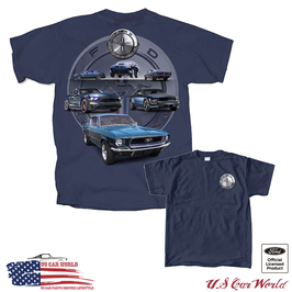 Ford Mustang T-Shirt - Ford Mustang Circle - Mustang GT - Mustang Collage - Blau