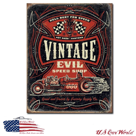 """Blechschild """"Vintage Evil - Hell Bent Rods"""""""