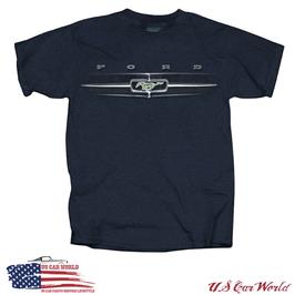 Ford Mustang T-Shirt - Mustang Grille Motiv - Mustang Running Horse - Blau